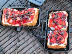 Chocolate strawberry pound cake in pie iron
