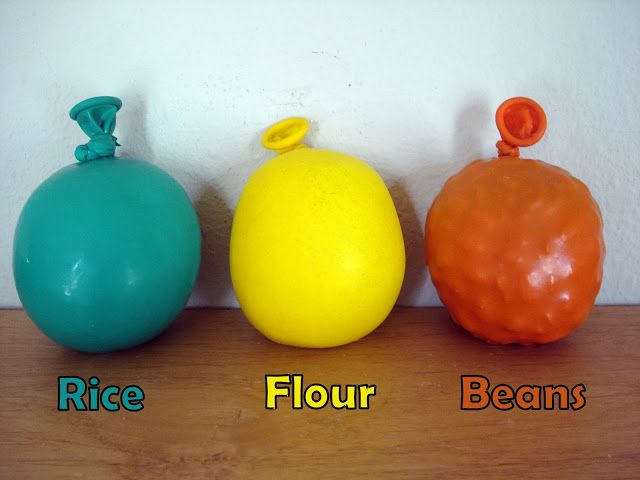 Make stress balls out of balloons and either rice, flour, or beans ...