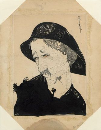 """Djuna Barnes artwork, Man with moustache, fisherman's hat, looking left, for """"On Going Fishing,"""" New York Morning Telegraph Sunday Magazine, July 29, 1917. Ink on paper. Djuna Barnes Papers, Special Collections, University of Maryland Libraries"""