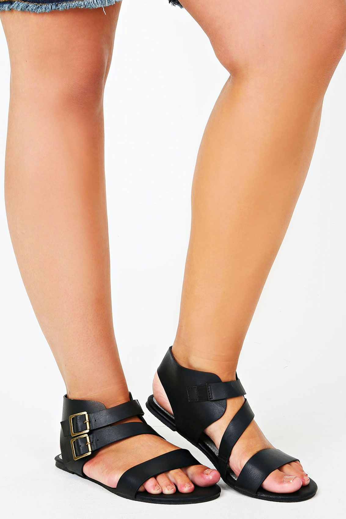 Black Twin Buckle Gladiator Sandal In