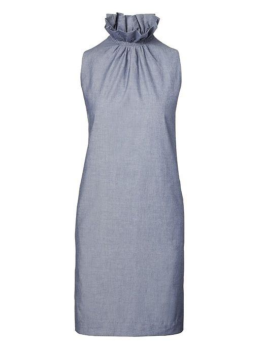 851d083ea0 Banana Republic Womens Ruffle High Collar Chambray Dress