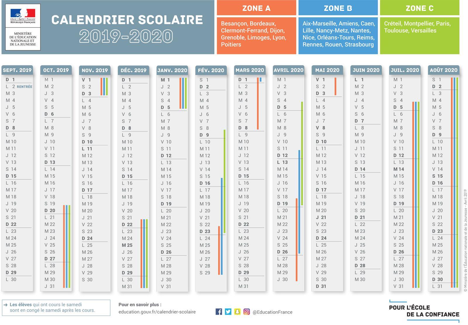 Calendrier 2019 2020 A Imprimer.Le Calendrier Scolaire Calendrier Scolaire Calendrier