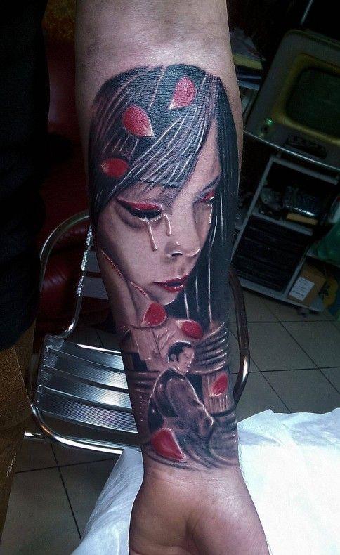 Tatuaze Kobieta Kolorowy Na Przedramieniu Twarz