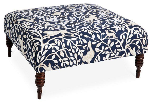 Fantastic Ian Cocktail Ottoman Navy Pantheon Color Blue White Ibusinesslaw Wood Chair Design Ideas Ibusinesslaworg