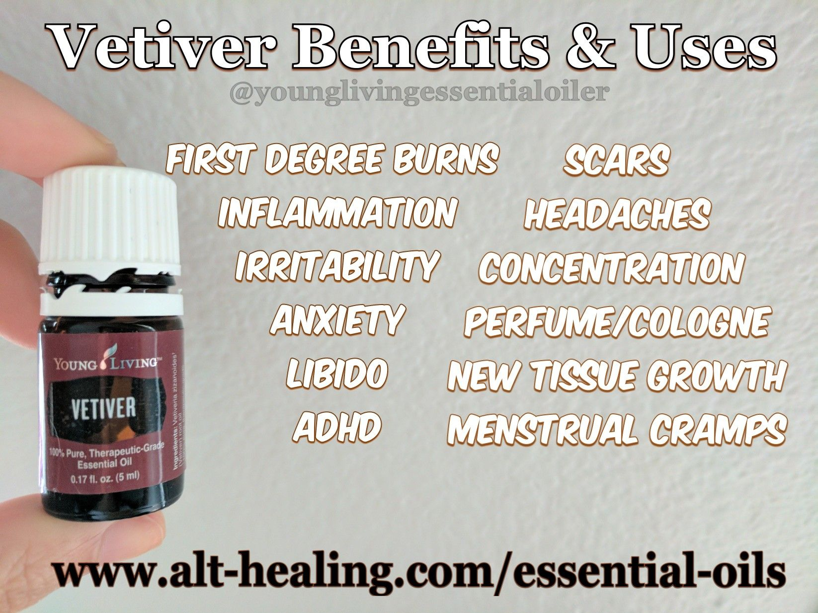 Quick Vetiver Testimony: My husband recently badly burned his hand on a hot stainless steel pot and applied Vetiver Essential Oil to it (neat) after running his hand under cold water for a minute or so and then drying it off. The pain went away within a couple of minutes and no blister formed! . . More about Vetiver can be found on my blog at www.alt-healing.com (link in bio) . . You may also sign up for my newsletter at the above website to receive updates when a new blog post is up.❤️
