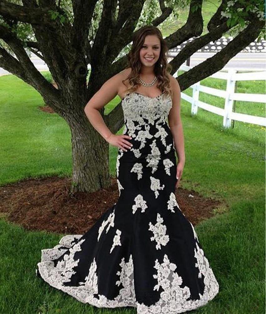 Cool great plus size blackwhite appliques mermaid evening dresses