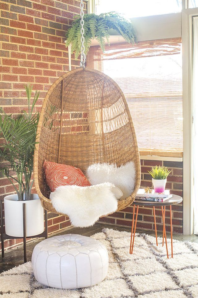 It Takes Just 30 Minutes To Properly Hang A Mid Century Inspired Woven Basket Chair If Done Correctly