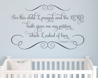 For this child i prayed scripture vinyl wall decal bible for Bible verses for kids rooms