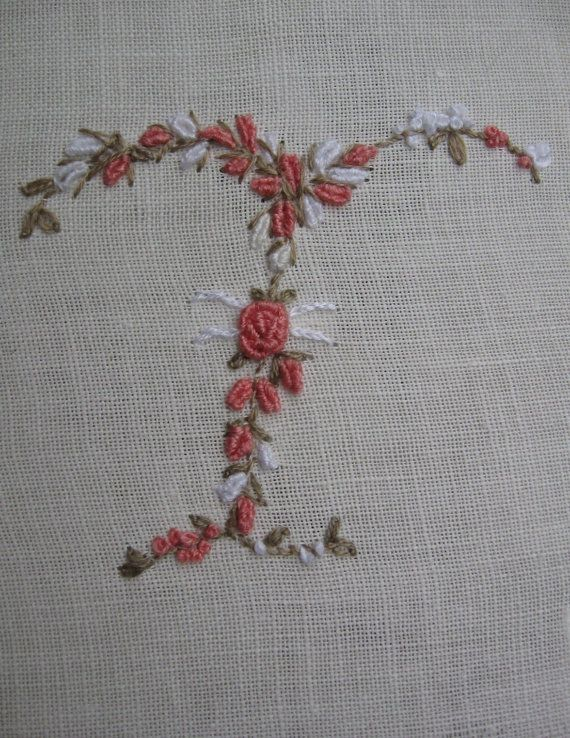 Hand Embroidery Monogram Letter T
