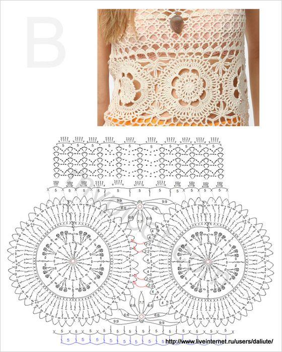 Blusas tejidas a crochet con patrones (2) | Encajes de ganchillo ...