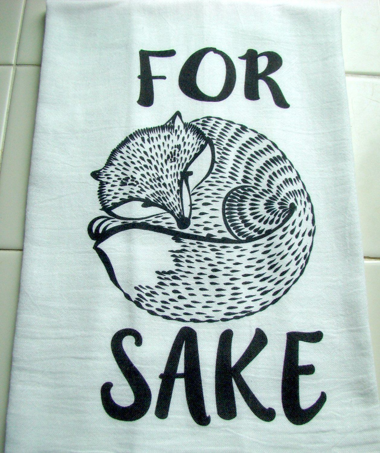 Amazon.com: For Fox SAKE kitchen tea towel Handmade printed graphic ...