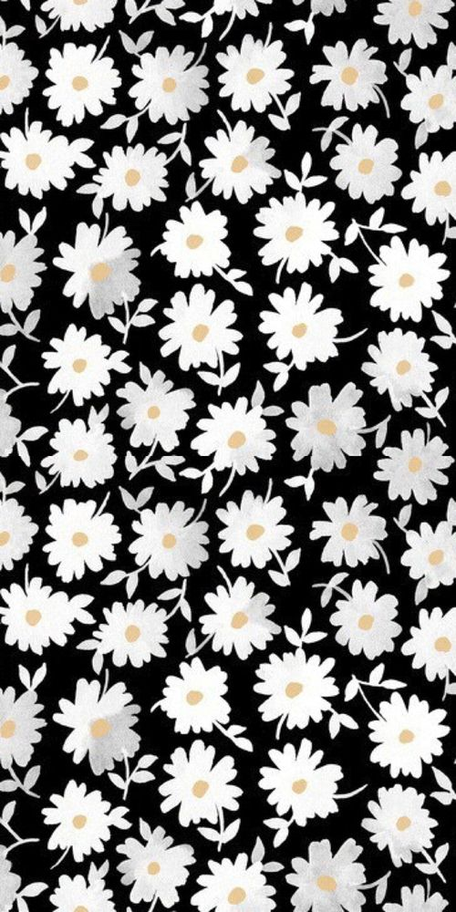 Print Pattern Modern Floral Monochrome Design Daisy Illustration Pattern Wallpaper Iphone Wallpaper Background