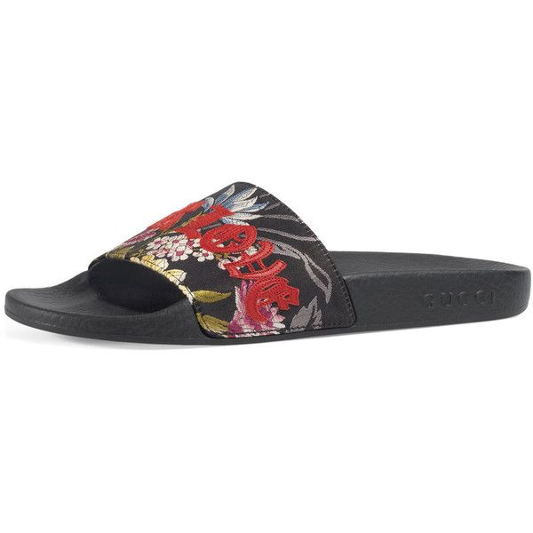 7843d5f3d11d Gucci Pursuit Blind For Love Slide Sandal ( 495) ❤ liked on Polyvore  featuring shoes