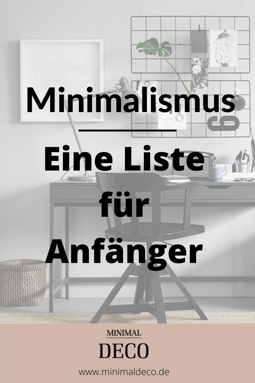 Minimalismus - Eine Liste für Anfänger