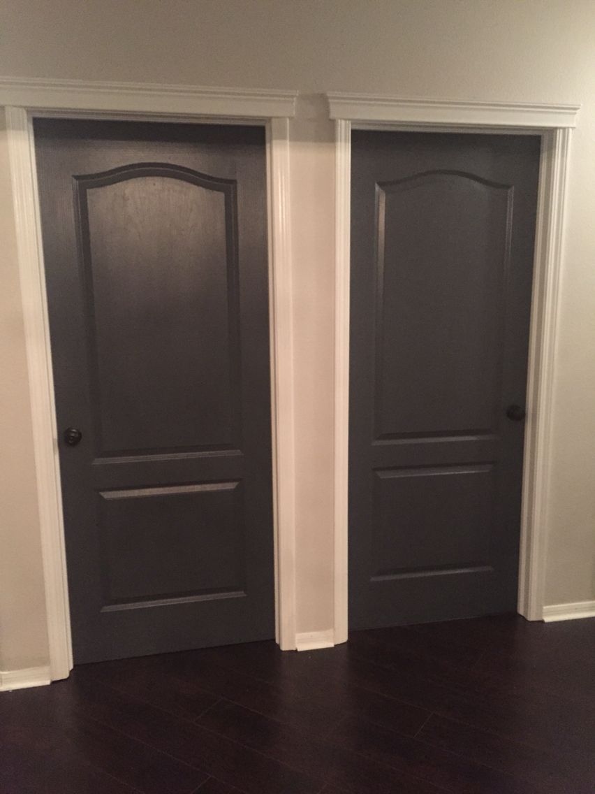 Best decision ever   Painting all our interior doors  Sherwin     Painting all our interior doors  Sherwin Williams Peppercorn and black  matte hardware