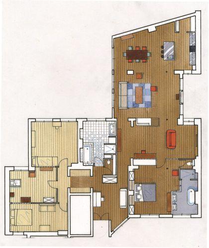 Rénovation  appartement de 200 m2 à Paris place république