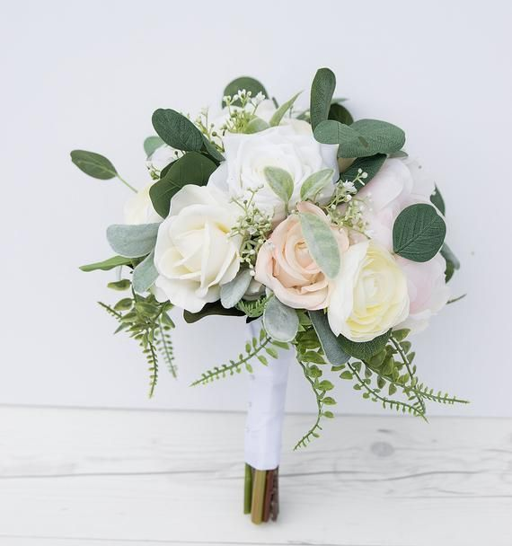 Boho Cream Bouquet, Garden Bouquet, Peony Bouquet, Silk Wedding Bouquet, Greens and Eucalyptus Silk