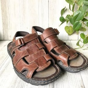 Nunn Bush Leather Peep Toe Fisherman Sandals