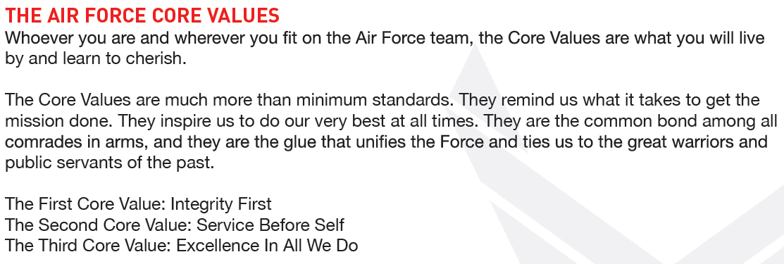 air force core values integrity A foundation of integrity from our core business to our community involvement, our vision defines us in everything we do and how we do it always.