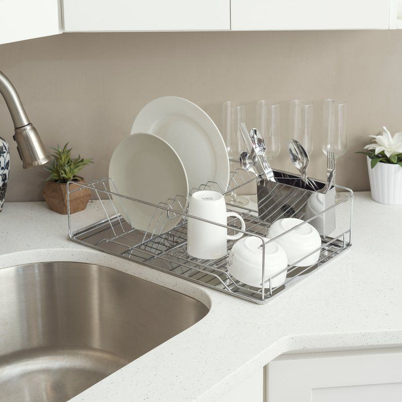 Dish Rack Chrome Stainless Steel Tray Home Basics Stainless