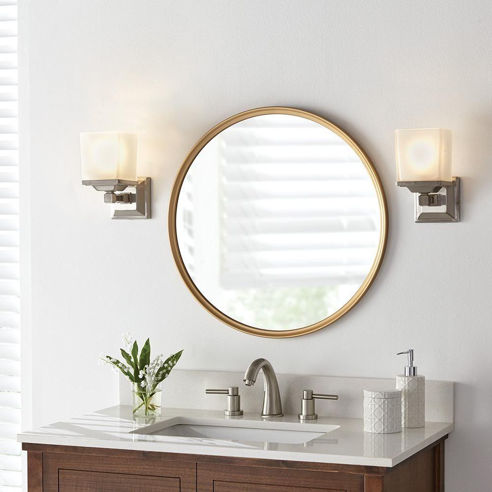 Home Decorators Collection 24 In X 24 In Framed Fog Free Round Mirror In Gold 45383 Round Mirror Bathroom Mirror Round Mirrors