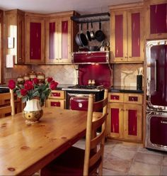 Modern Knotty Pine Cabinets With Maroon Accents Kitchen