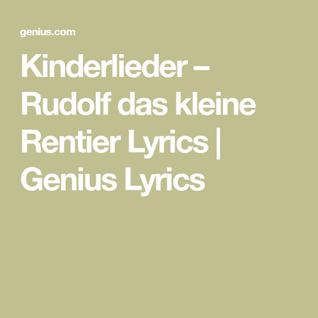 Rudolf Rentier Lied