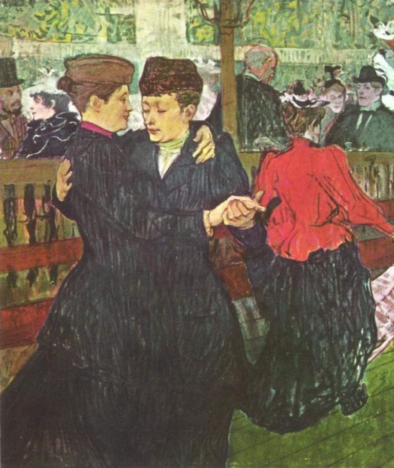 Henri de Toulouse-Lautrec.  Im Moulin Rouge, Zwei tanzende Frauen. 1892, Öl auf Karton, 93 × 80 cm. Prag, Národni Galerie. Genremalerei. Frankreich. Postimpressionismus.  KO 02226