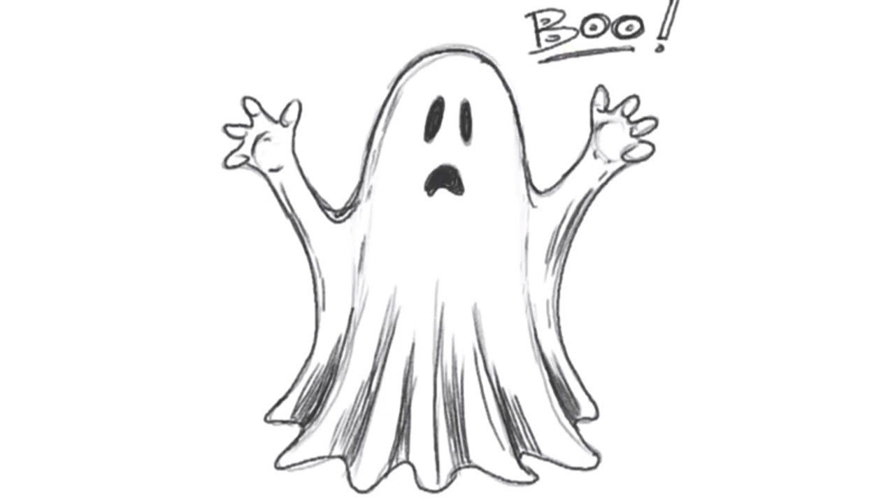 How to Draw a Ghost - Draw Halloween Stuff  Scary drawings