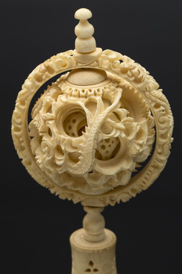 Chinese ivory mystery ball on carved stand late