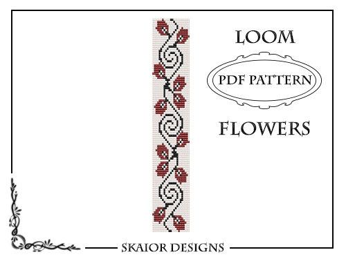 Loom beading Pattern bracelet, Red Flower Pattern, Flowers