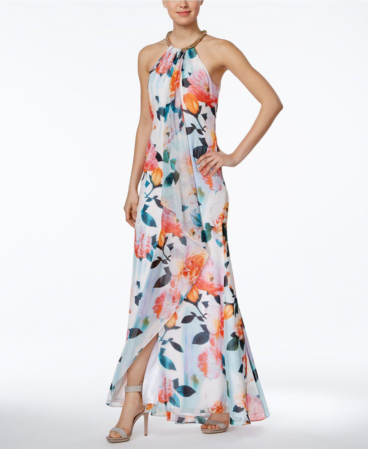 3164e8aa92501 Calvin Klein Draped Floral-Print Halter Gown - Dresses - Women - Macy's