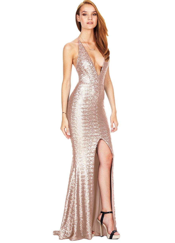 Crisscross open back front slit sequins party dressevening