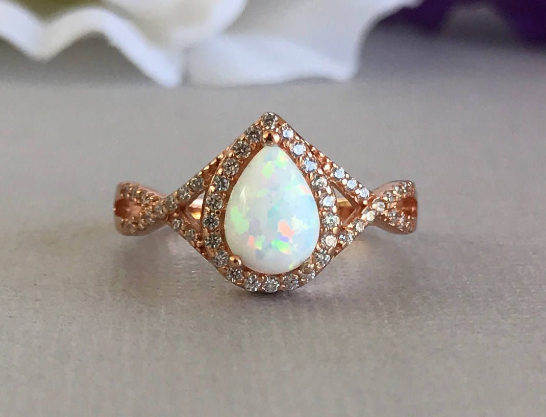 7a16a2ec9a75f 14K Rose Gold Pear Shape White Opal Stone Engagement Infinity Band ...
