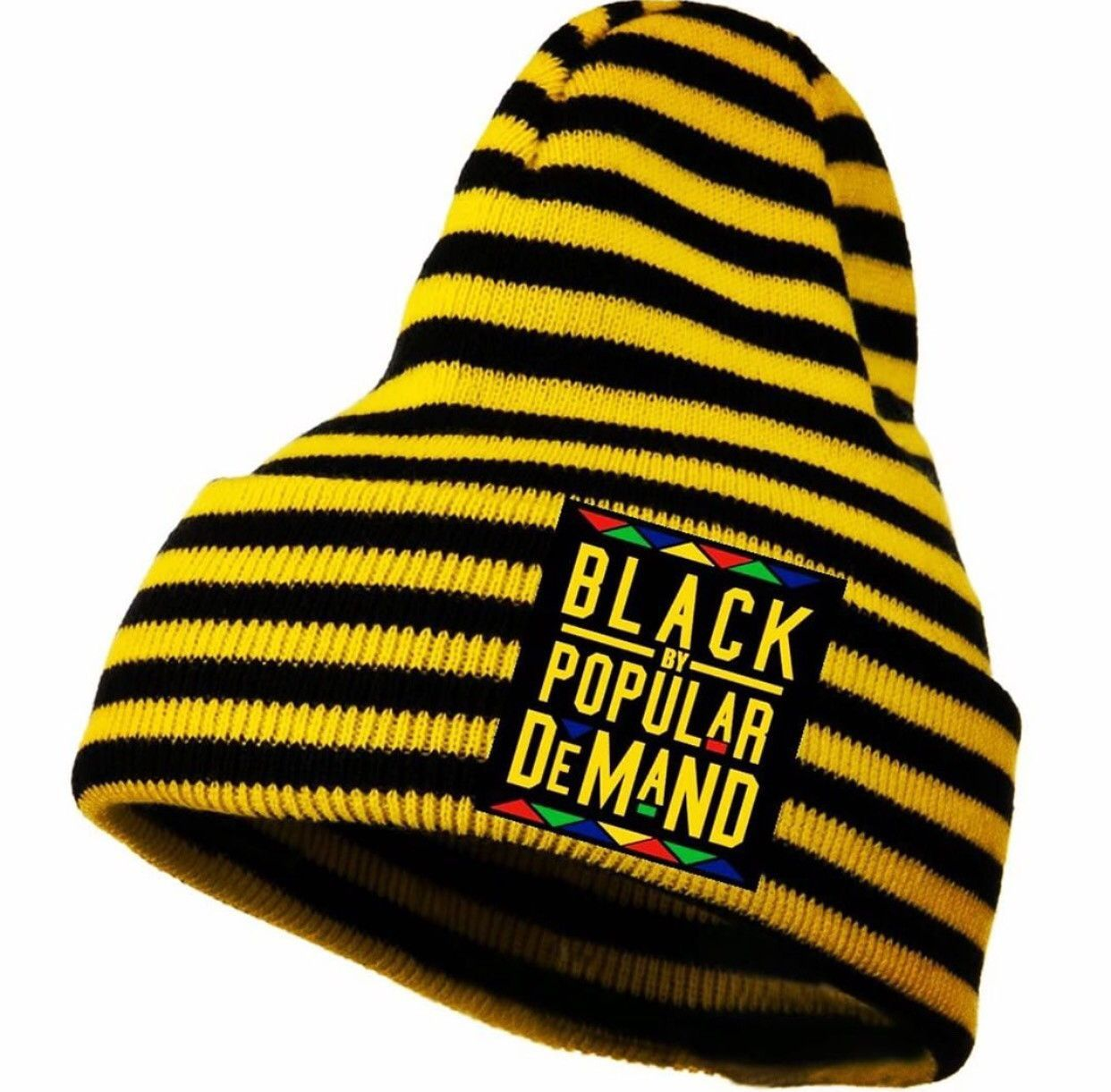 BLACK BY POPULAR DEMAND® yellow striped beanie hat  540404e8282