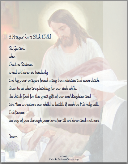 Prayers - A Prayer for a Sick Child (PDF) | FREE Ship $49