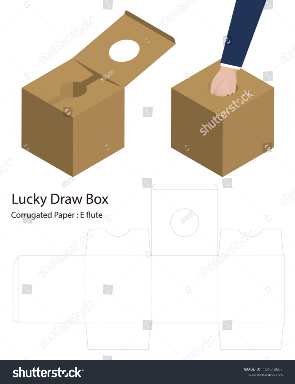 Download Lucky Draw Box 3d Mockup With Dieline Lucky Diy Craft Projects Box Design