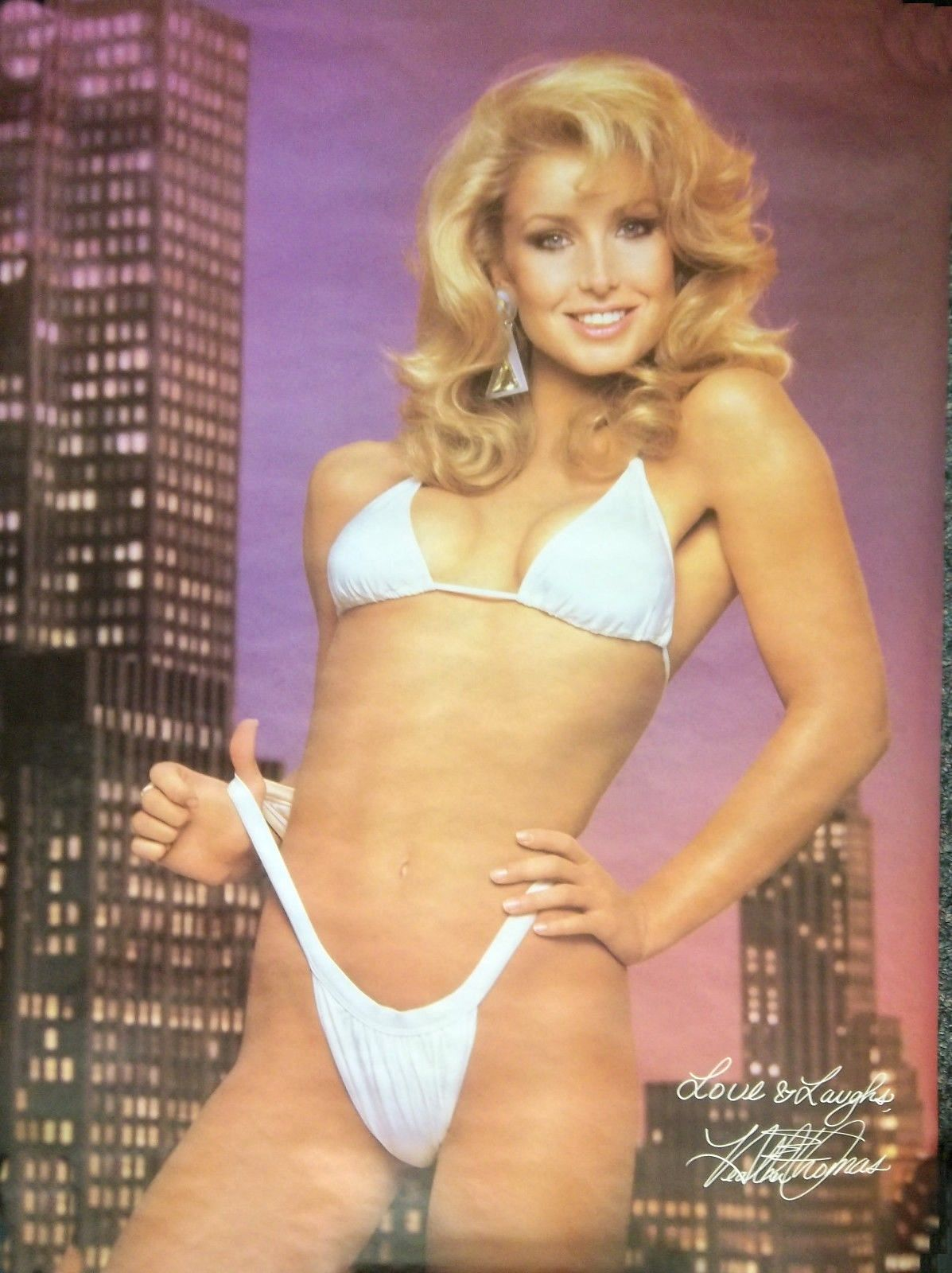 Amy Yip Playboy heather thomas two-piece white bikini poster | heather