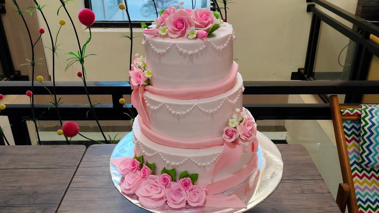 Wedding Cake Three Level Flowers Roses Pink And Tutorials