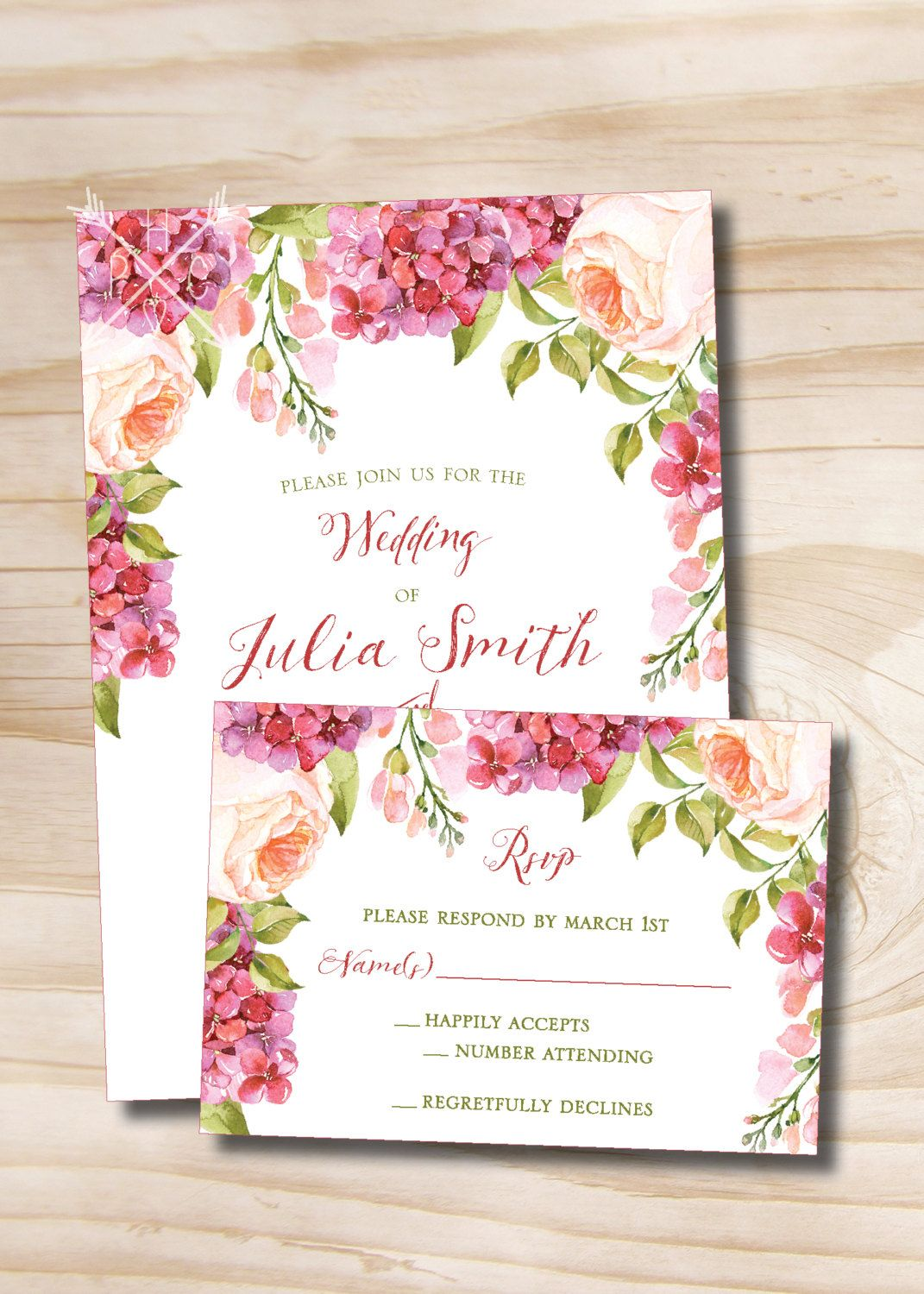 Watercolor Floral Peony Lilac Spring Summer Wedding Invitation and ...