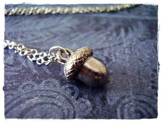 Antique Pewter Acorn Charm on a Delicate Silver Plated Cable Chain or Charm Only Silver Acorn Necklace