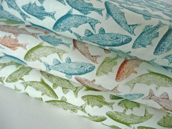 Riley Blake Fish Fabric Trail Mix C4014 Green by AnnadaisysFabrics