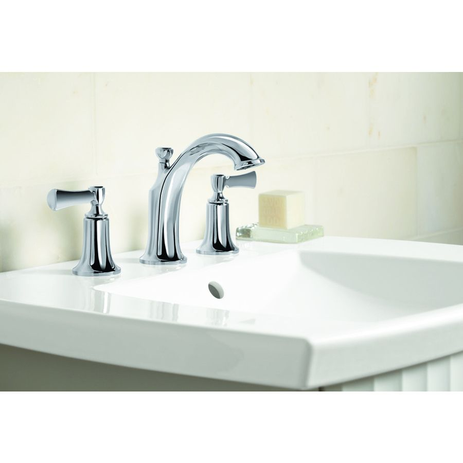 Kohler Elliston Polished Chrome 2 Handle Widespread Watersense Bathroom Sink Faucet Drain Included At Lowes