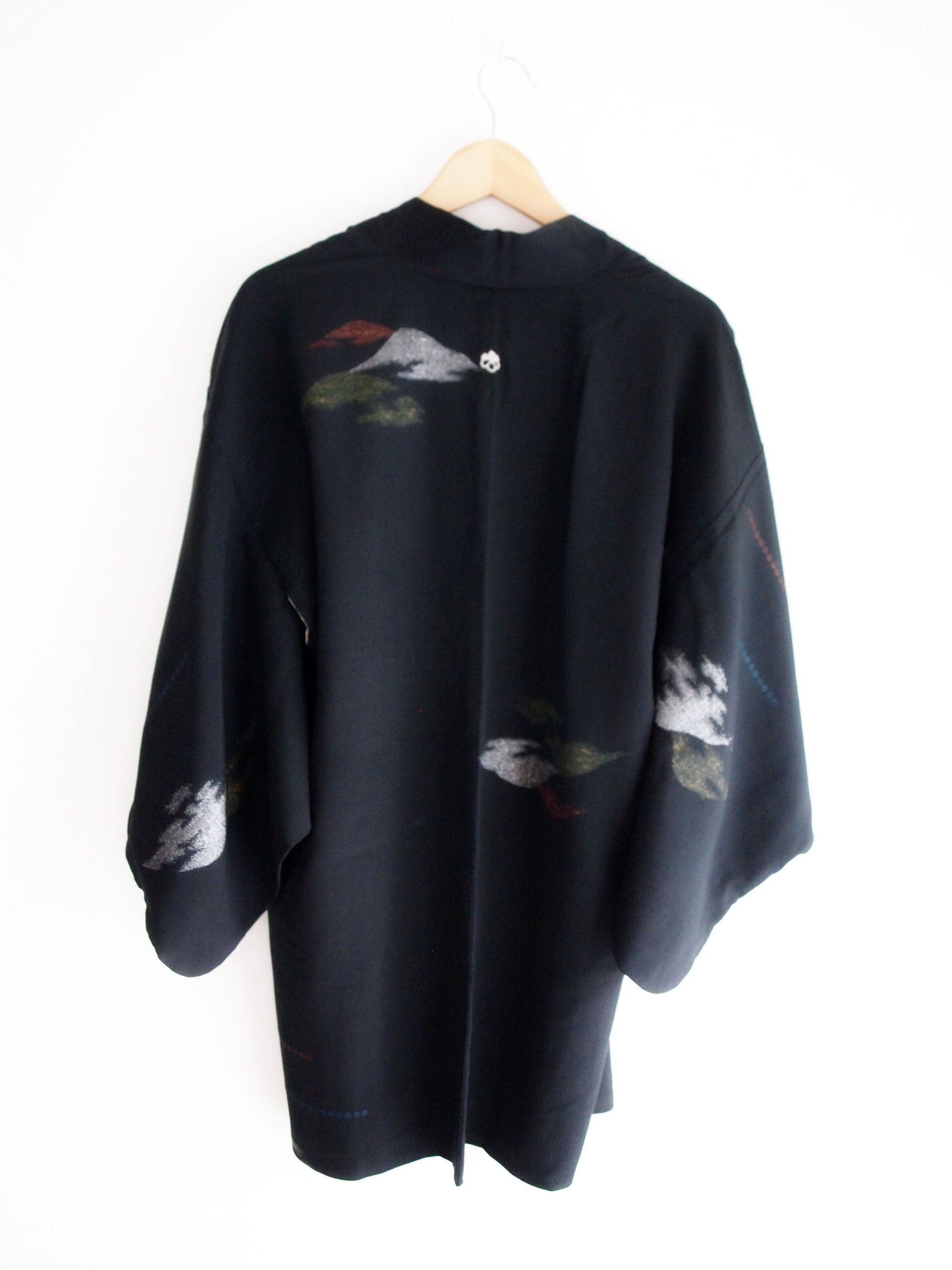 c20c8e400bd Vintage Kimono women - black silk kimono jacket, clouds design ...