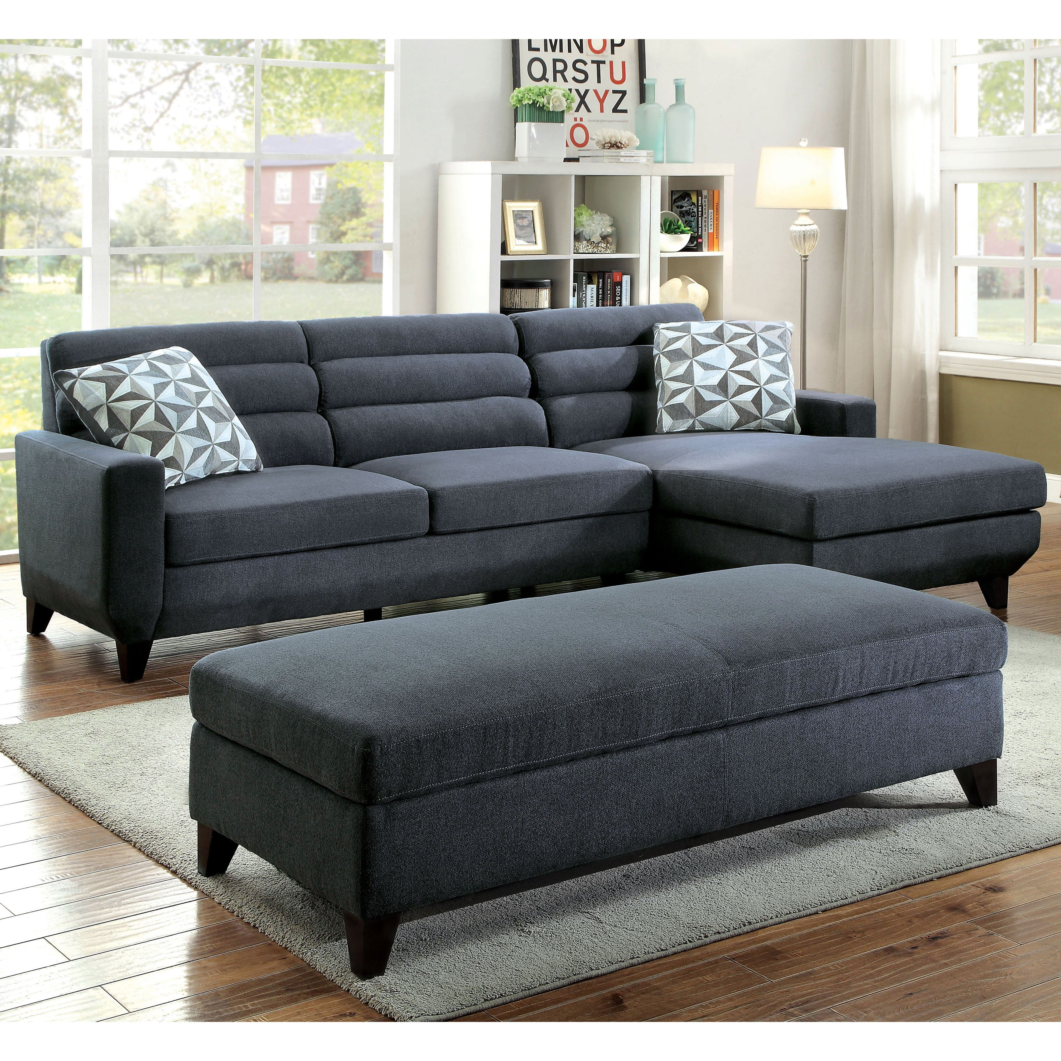 Grey Fabric L Shaped Sofa Greek Bed Furniture Of America Brixon Contemporary Dark Padded
