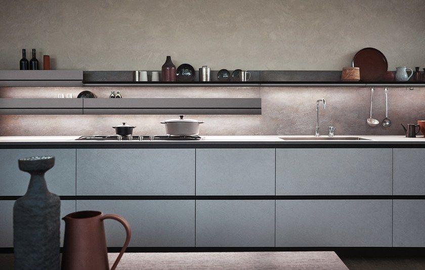 Cucina componibile lineare senza maniglie in melaminico ...