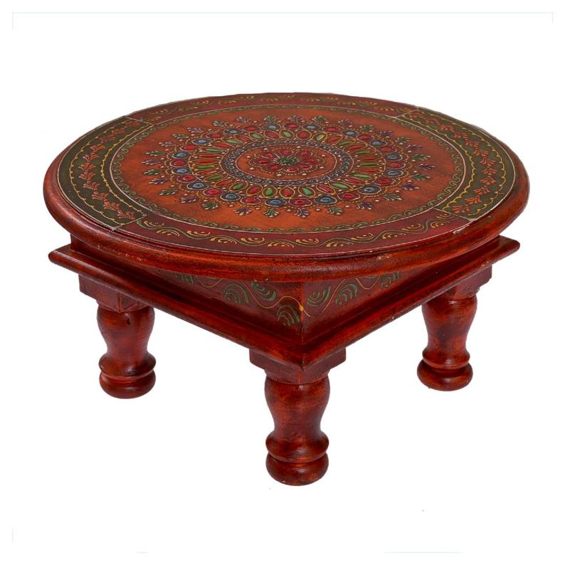 Wooden Indian Round Table Coffee Table Floral Design Coffee Table Handmade Traditional Table Centre And Side Table Wooden Stool 12 Inch In 2021 Traditional Table Coffee Table Design Etsy