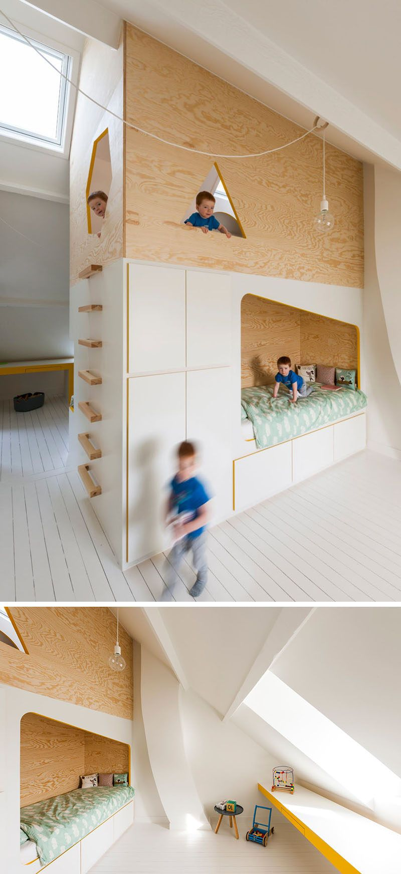 Double loft bed with desk  This Kids Room Has A Custom Designed Double Bed And Lofted Play
