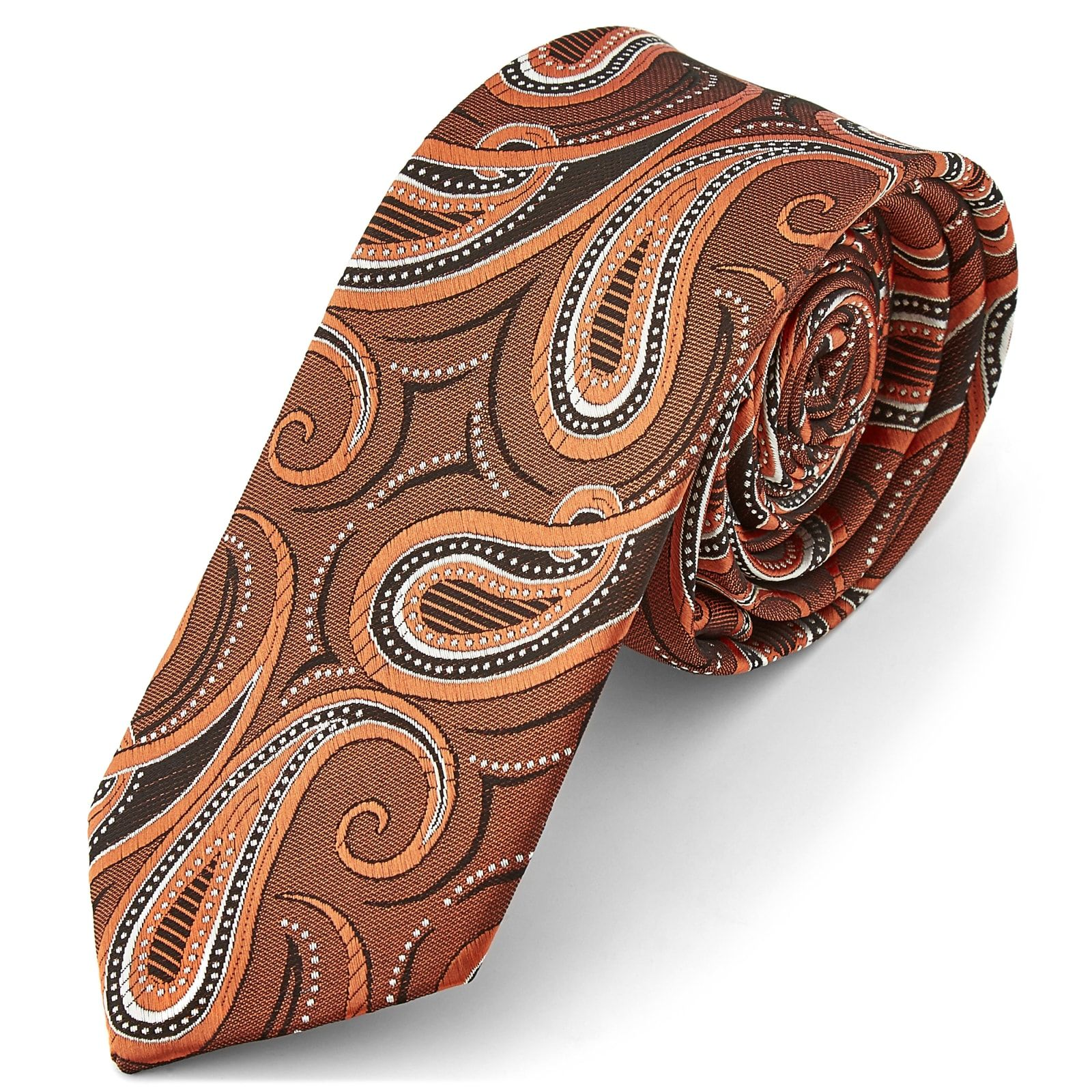 Photo of Autumn Bronze Toned Paisley Tie | In stock! | Tailor Toki