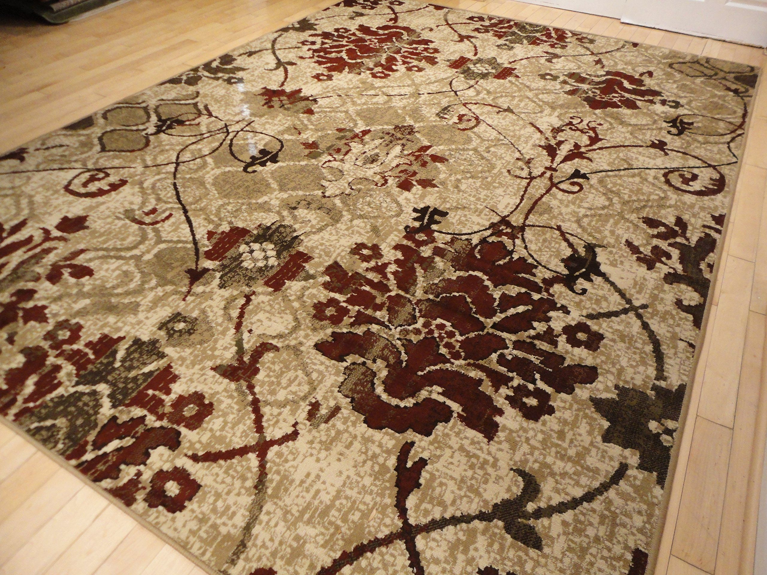 Modern Burgundy Rugs Living Dining Room Red Cream Beige Area 8x10 Clearance Contemporary 8x11 Rug